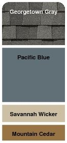 Roof: Georgetown Gray Siding: Pacific Blue Accents: Savannah Wicker & Mountain Cedar