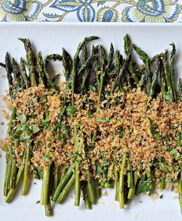 Roasted asparagus with toasted lemony breadcrumbs. #recipe