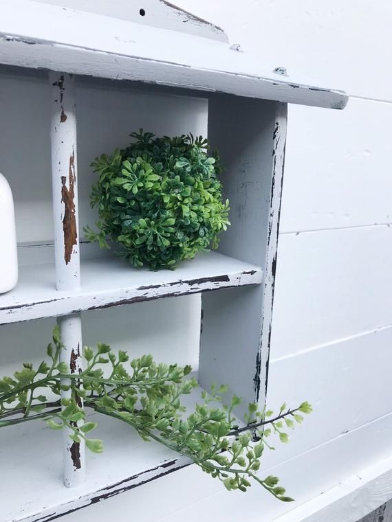 Cute Unique Farmhouse Style Shelf / Soft Light Gray / Solid Wood Home Accent / Rustic Shabby Chic D1