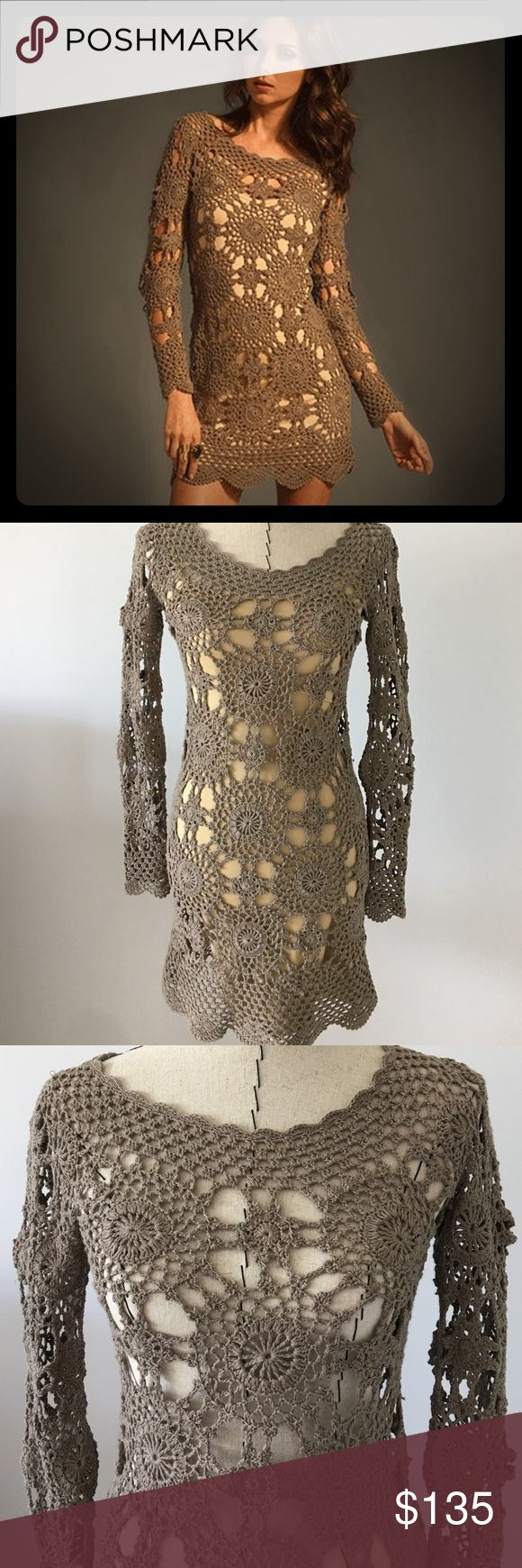 """Crochet dress Taupe crochet dress is by Eternal Sunshine Creations.  Bought in upscale boutique.  Petite/small.  I am 5'6"""" and a size 2-4 and it fits great!  Shown in first picture with nude slip (not included but easy to find).  Price is for crochet dress only.  Never worn.  Versatile for a vacation, at the beach or with a tank and leggings.  Length is 31.5"""".                            ♥️No trades.                                                  ♥️No lowball offers please Eternal Sunshine…"""