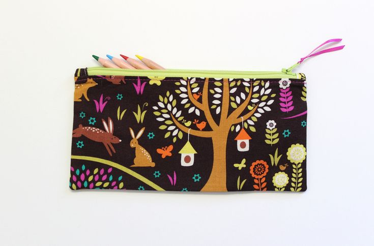 Woodland Pencil Case, Pencil Pouch, Small Zipper Pouch, Small Makeup Pouch, Gifts Under 20, Cute School Supplies by LittleFoxSewsLots on Etsy