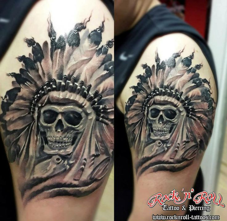 Indian chief skull tattoo   Hubby things   Pinterest ...