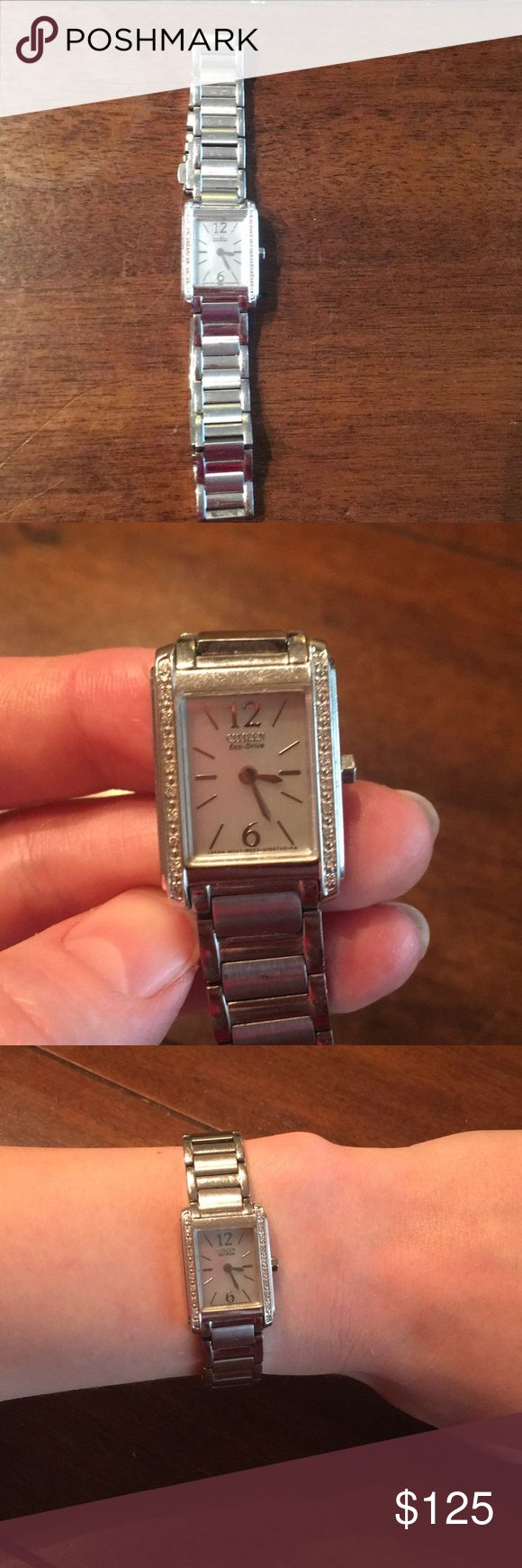"""Ladies Citizen Eco-Drive Watch Beautiful, dainty watch with rectangle face. Face color is very faint iridescent color. Pave stones on each side of the face. Very minor scratches, as pictured, from wear over the years. In great, used condition. Solar-powered, so no need for batteries. Approx. 7"""" length. No trades. Accepting reasonable offers✨✨ Citizen Accessories Watches"""