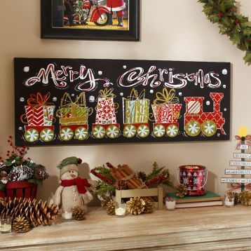 Add a unique charm to your living room with our Merry Christmas Train Canvas Art Print! #Kirklands #HollyJolly #holidaydecor