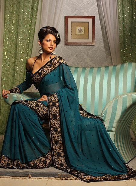 Beautiful teal and black sari