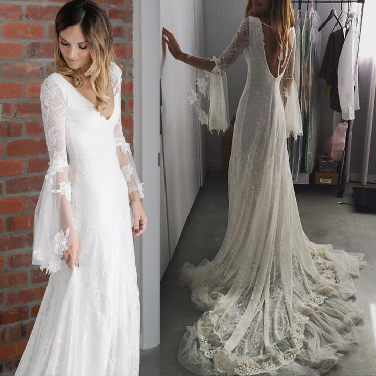 Spring 2016 Full Lace Mermaid Wedding Dresses Sheer Long Sleeves Open Back Deep V Neck Custom Made Boho Bridal Gowns For Beach Wedding Wedding Dresses Nyc Wedding Dresses Under 500 From Whiteone, $124.16| Dhgate.Com