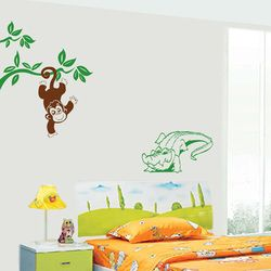 Monkey and the crocodile decals Silhouette Design.in Adorn your wall with Silhouette Design and see the change in your decor. The most easy way to enhance your space.   mail us at:- info.silhouettedesign@gmail.com