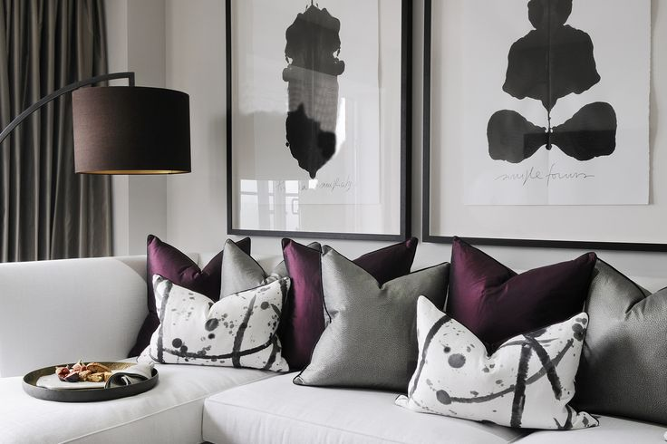 #HarveysChristmas North London Luxury Apartment, Great inspiration with the monochrome greys & and splash of purple!