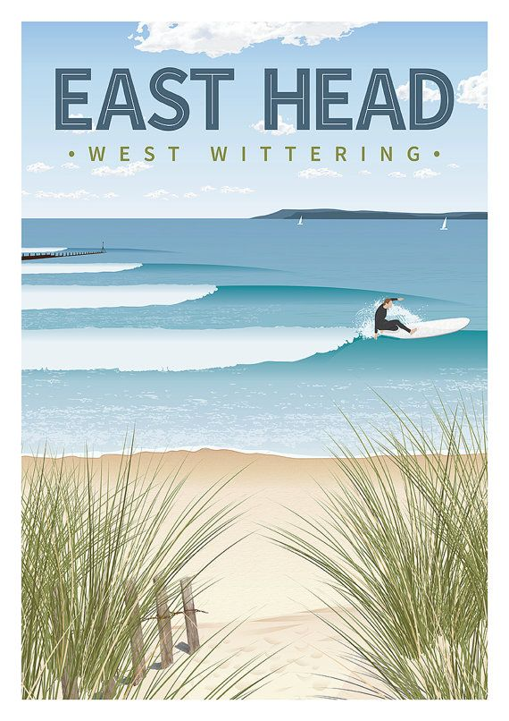 Retro surfing travel poster A3 by www.frontsidedesign.co.uk