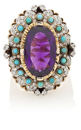 An amethyst Spanish ring decorated with diamonds and turquoises. | Balclis Barcelona www.balclis.com #amethyst #diamonds #turquoises