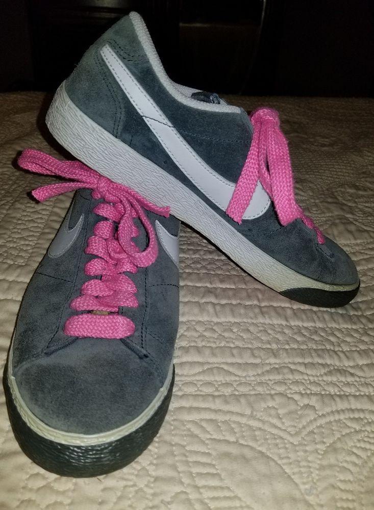 NIKE BLAZER LOW men shoes sz 7 women sz 9 317552-003 EU 40 soft gray pink laces