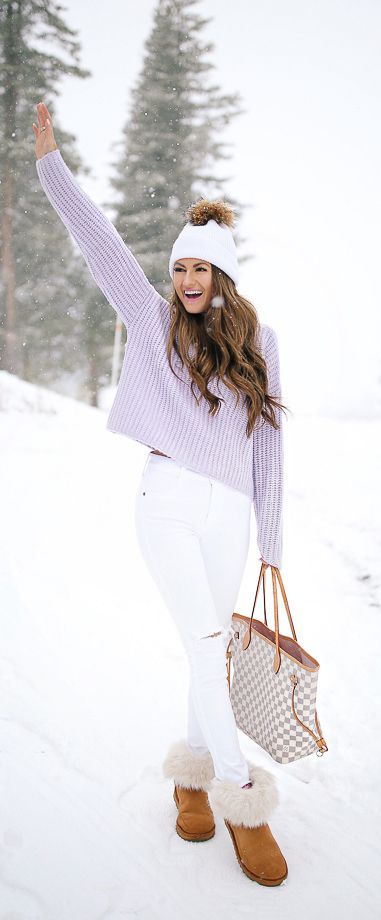 Lavender sweater; winter outfit inspiration