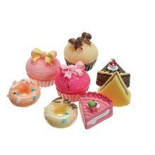 Schöne 8 Teile/satz 1:12 Nette Miniatur Kunststoff Handwerk Ornamente Puppenhaus Micro Küche Lebensmittel Kuchen Kinder Spielen Spielzeug Set Kinder geschenke(China (Mainland))