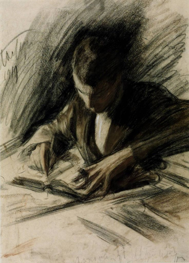 Boris Pasternak writing, by Leonid Pasternak 1919