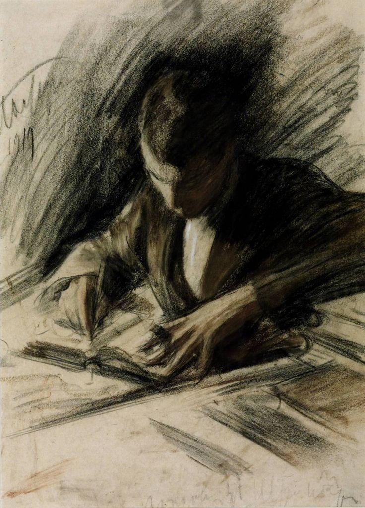 Boris Pasternak writing, by Leonid Pasternak 1919