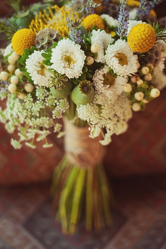Country #rustic bridal bouquet with wildflower tone {Artisan Flowers, Photo: Souder Photography}