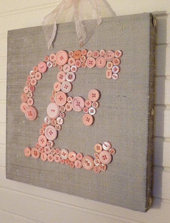Baby Girl Nursery Wall Art, Children Wall Art, Nursery Letter on Canvas, Pink Buttons on Gray Grey Silk, Unique Baby Shower Gift