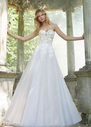 1fb2b9aef3 Whimsical wedding dress idea - a-line wedding dress with floral appliques -  Pierette by