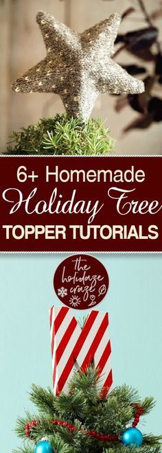 6+ Homemade Holiday Tree Topper Tutorials| Holiday Tree Toppers, Tree Topper, DIY Tree Toppers, DIY Tree Topper, Handmade Tree Toppers, Christmas, Christmas Tree Decor Hacks. #Christmas #ChristmasTreeToppers #DIYChristmasTree #DIYHoliday