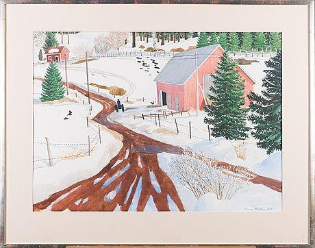 Inari Krohn: Varhainen kevät, 1979, vesiväri, 51,5x71,5 cm - Bukowskis Market 2015