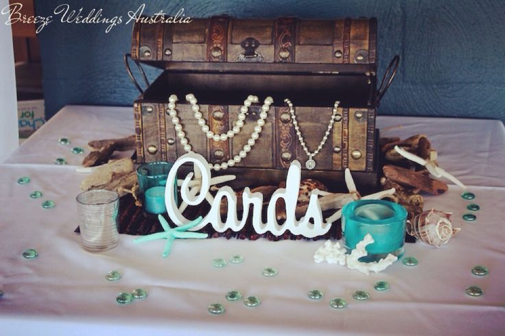 Wishing well treasure chest #breezeweddings #wishingwell #treasurechest #wishingwellhire #goldcoast #tweed #reception #wedding #diywishingwell #diyweddingideas #diy #beachtheme #cardstable #cabaritaslsc #cabaritasurfclub
