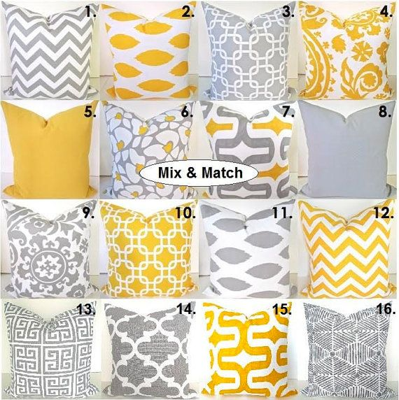 The Best way to CUSTOMIZE your room!  THESE PILLOW COVERS CAN GO RIGHT ONTO A PILLOW FORM OR OVER YOUR EXISTING PILLOWS!  Add a FRESH NEW DESIGNER LOOK to any room with this pillow cover made out of any of the sizes and in any of the Patterns. They all feature a gorgeous contemporary pattern in GRAY & YELLOW on a white backgrounds. It is made up of 100% decorator weight cotton fabric.  * * * THIS LISTING IS FOR 1 PILLOW COVER. * * * PICK THE PATTERN AND THE SIZE THAT YOU WANT !! ! The pillow…