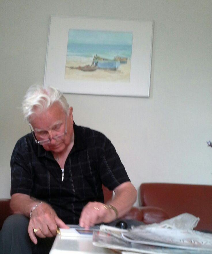 Cadzand Bad schildervakantie Aquarelgroep 2016, Herbert aan het werk