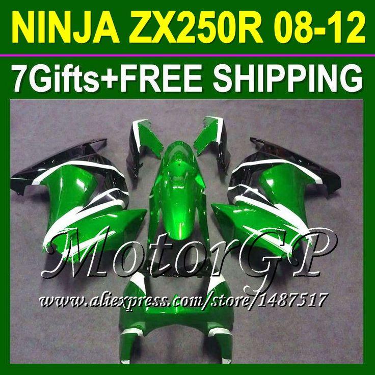 Купить товар7 подарки + зализа для Kawasaki ниндзя 250r 08 09 10 11 12 зеленый черный 16 # 160 ZX250 ZX 250 ZX250R зеленый 2008 2009 2010 в категории Щитки и художественная формовкана AliExpress.