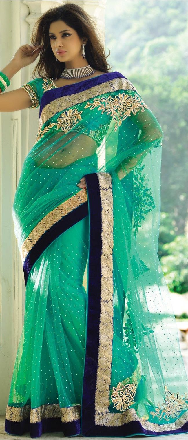 Green colour design sari in net with velvet boarder