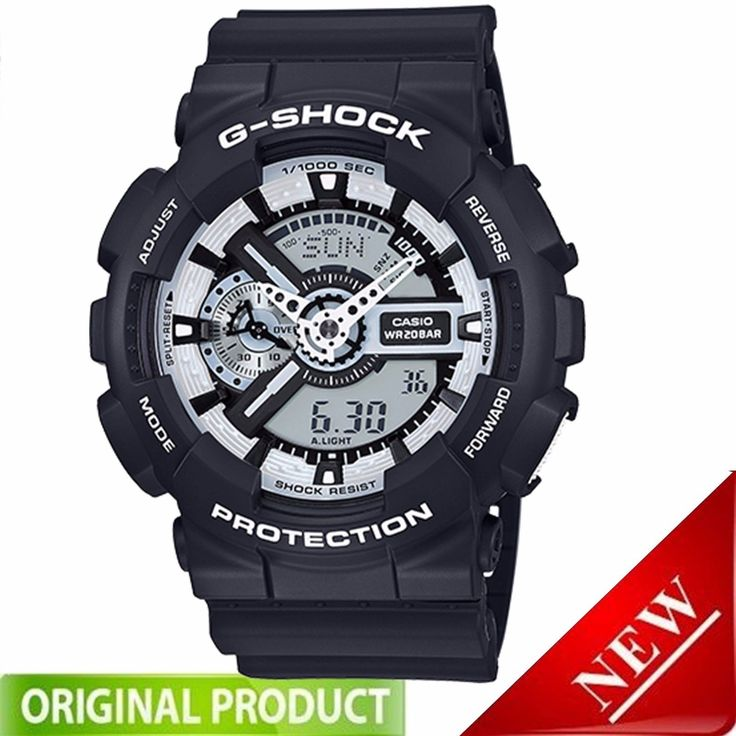 GA110BW-1A Casio G-Shock Analog-Digital 200m White on Black Resin Watch