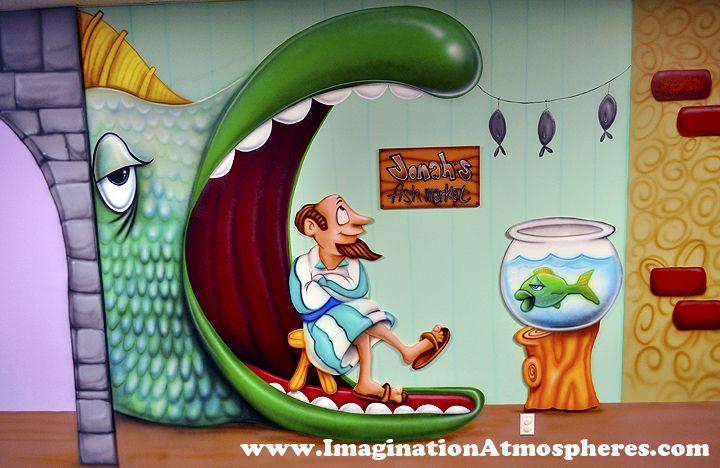 Jonah and the Fish Church Kids Mural - Bible Murals For Children