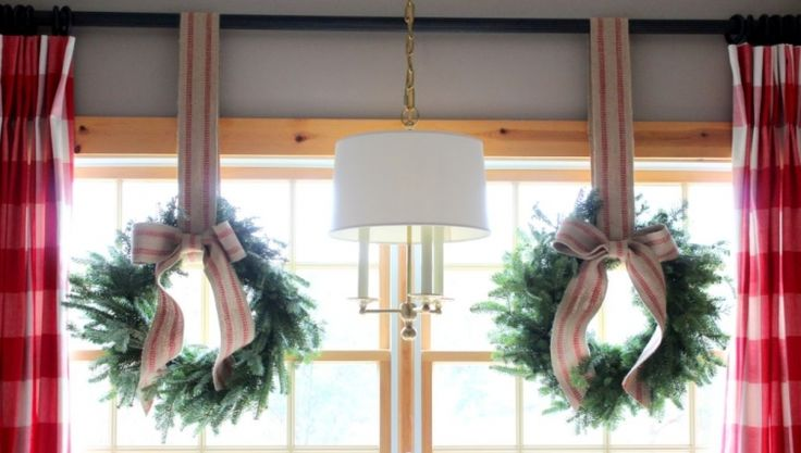 wreaths + red checked drapes