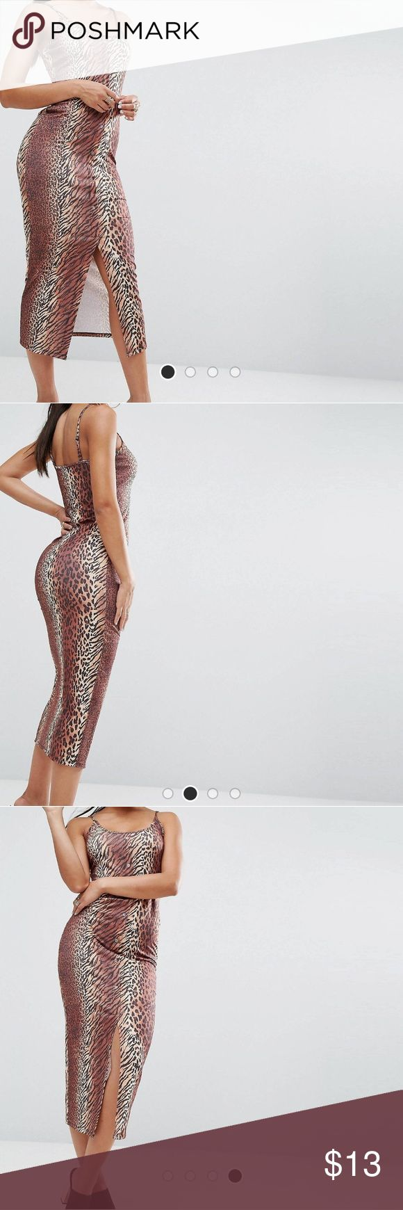 ASOS Animal Print Bodycon Dress w/ Popper Detail Printed knit fabric. Scoop neck. Adjustable straps. Front popper placket. Close-cut bodycon fit. 96% Polyester, 4% Elastane. Between midi and maxi length. ASOS Dresses
