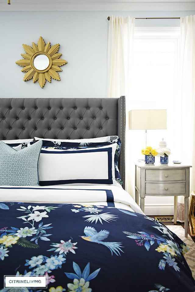 Navy Hotel Chic Bedding Is So Gorgeous, White And Navy Hotel Bedding