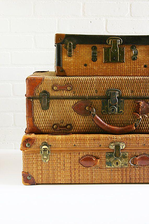 Antique Straw Suitcases . . .