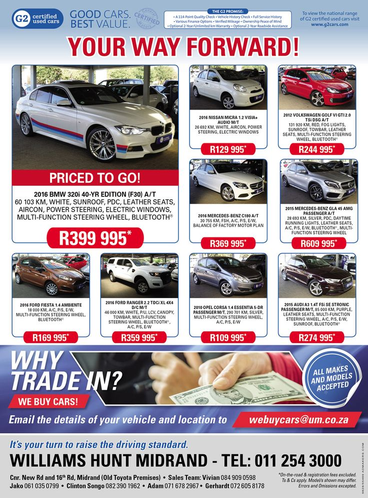 Don't miss out @ #Williams #Hunt #Midrands ! YOUR WAY FORWARD !! Contact us today on 0112543000 for more information and prices. *Terms & Conditions Apply. #Autofind