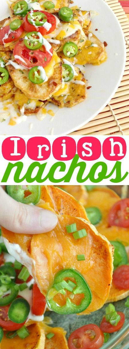 Irish Nachos :: super easy roasted spud slices topped with a mountain of melted cheese + all your favorite nacho toppings! This is the appetizer you'll want as your entree!