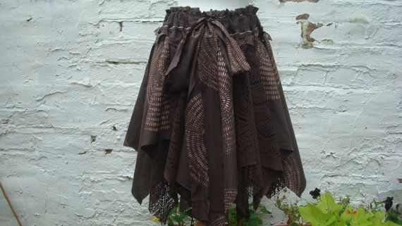 Chocolate Brown Fairy Upcycled Skirt Woman's Clothing Tribal Cotton Lace Layers Mori Girl Woodland Forest