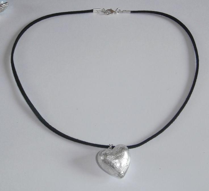 Silver Heart Glass Pendant by WearMyJewellery on Etsy