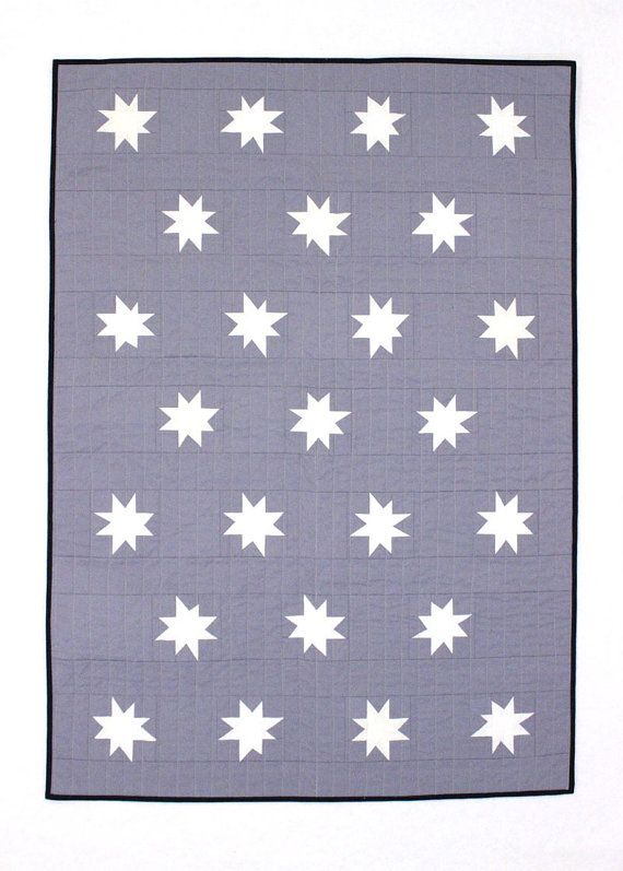 White and Grey Star Baby Quilt or Toddler
