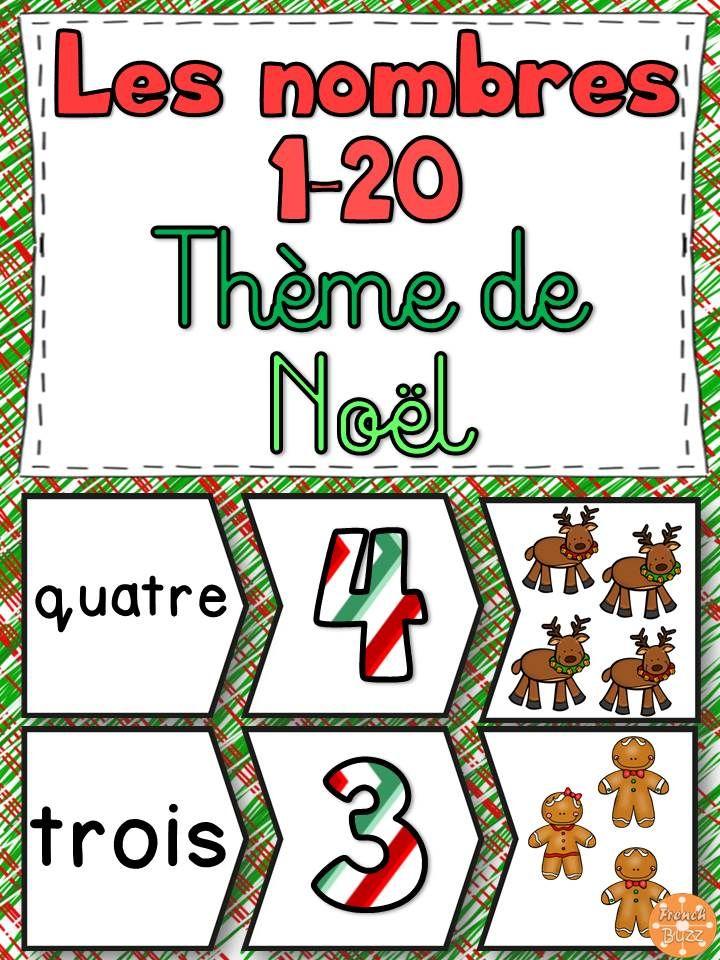 Les nombres de 1 à 20 - casse-tête. Puzzles à assembler. Jeu idéal pour les centres de mathématiques. Thème de Noël.