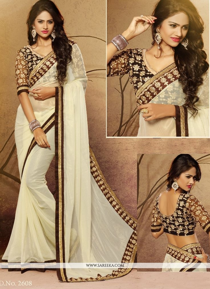 Everyone will admire you when you wear this clad to elegant affairs. Outstanding craftmanship of embellishments exhibited in this cream faux chiffon designer saree. This ravishing attire is amazingly ...