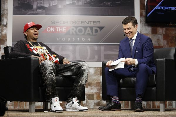 Allen Iverson Photos - 2016 Basketball Hall of Fame inductee Allen Iverson (L) is interviewed during the Naismith Memorial Basketball Hall of Fame 2016 Class Announcement at a filming of Sports Center at House of Blues on April 4, 2016 in Houston, Texas. - Naismith Memorial Basketball Hall of Fame 2016 Class Announcement