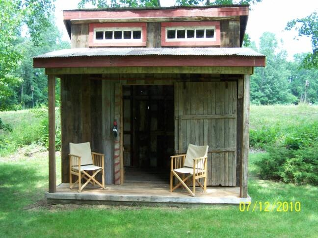relcaimed barn wood storage shed
