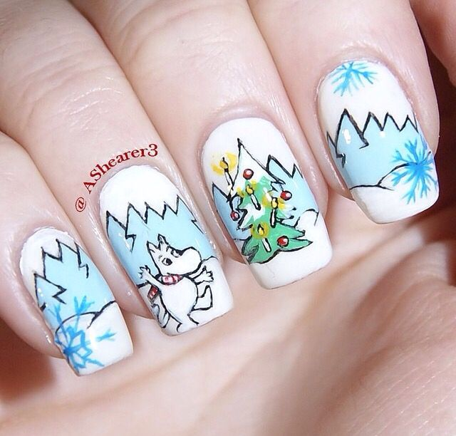 Moomin Christmas nails by @ashearer3