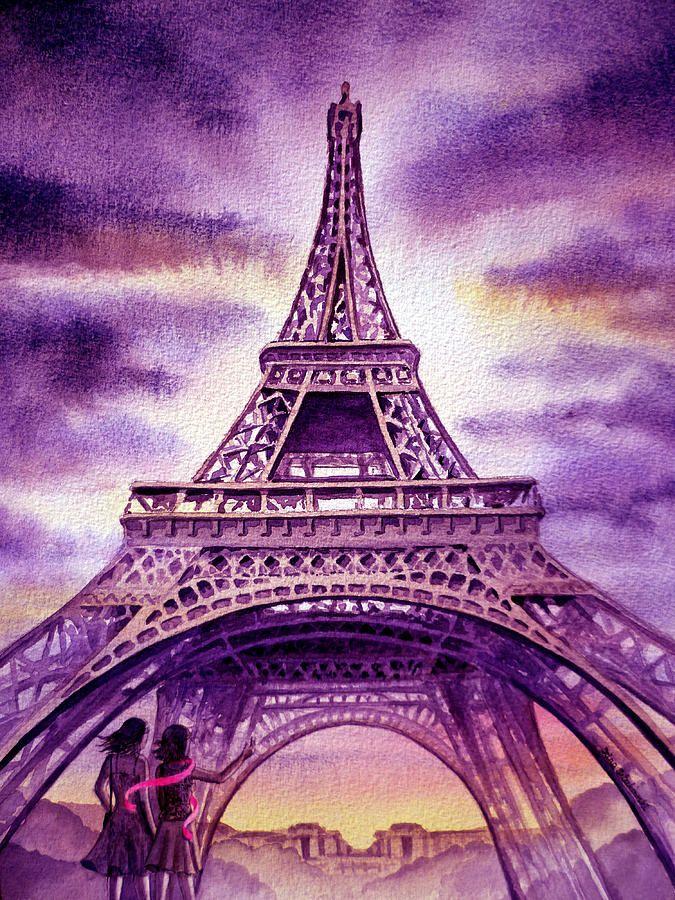 Purple Paris Painting  - Purple Paris Fine Art Print