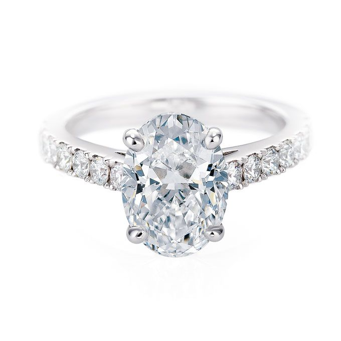 De Beers Classive Pave Solitaire Oval Cut Diamond Engagement Ring