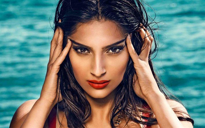 Download imagens Sonam Kapoor, modelo de moda, 4k, A atriz indiana, Bollywood, maquiagem, retrato
