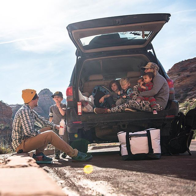 """""""Roadside lunch in Zion National Park with the crew after an impromptu hour-long hike to follow a group of mountain sheep as they scrambled and fed. That led to some hungry sheep of our own!"""" - @wildrootsoutdoors with our Titan 30 Can Tote!"""