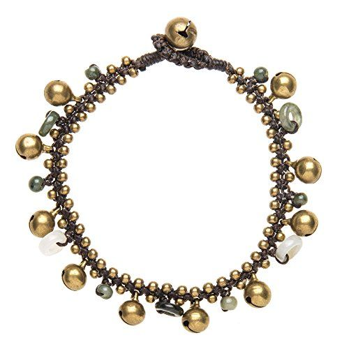 Women's Brass Gold Tone Green Bead Ankle Anklet Bracelet  23 cm.More info for silver anklets online shopping;beautiful anklets;stone anklets;anklets online shopping;silver anklets price could be found at the image url.(This is an Amazon affiliate link and I receive a commission for the sales)